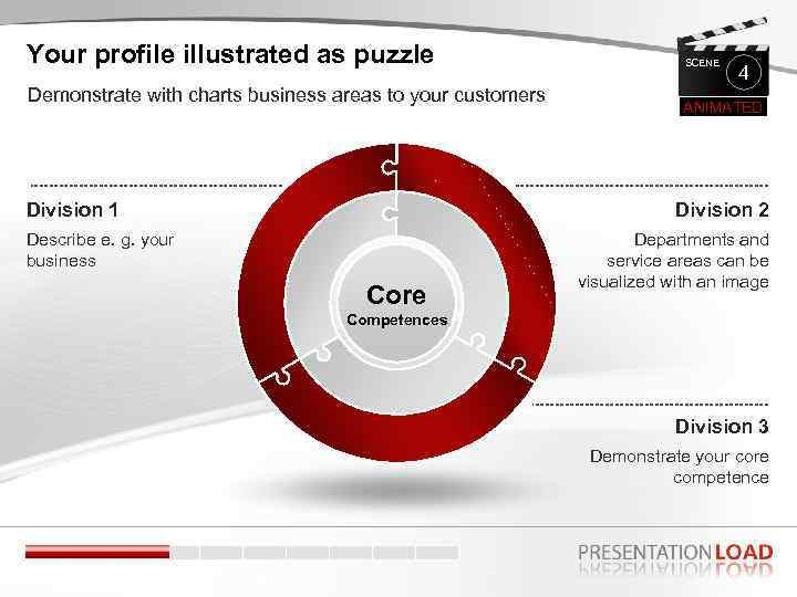 Your profile illustrated as puzzle Demonstrate with charts business areas to your customers Division