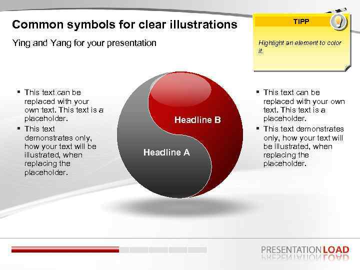 Common symbols for clear illustrations Ying and Yang for your presentation This text can