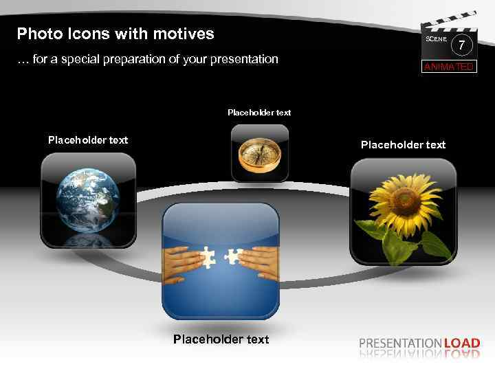 Photo Icons with motives SCENE … for a special preparation of your presentation ANIMATED