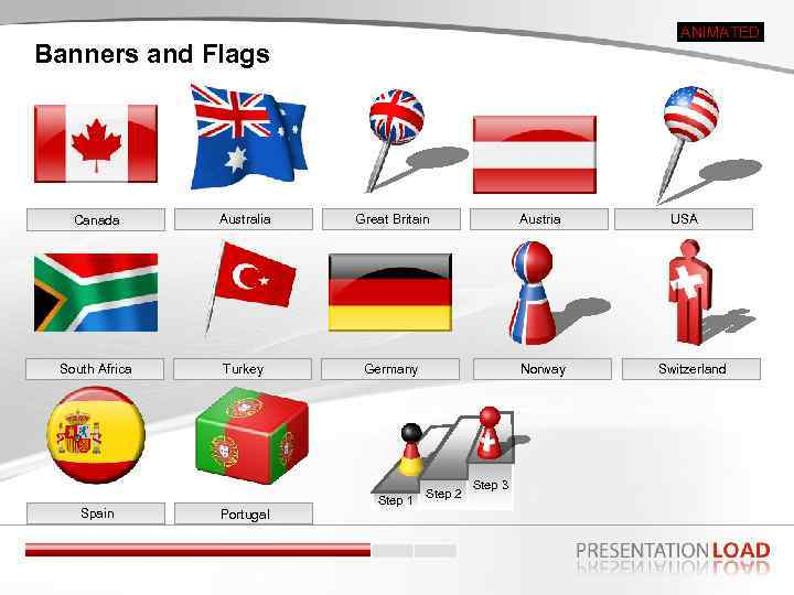 ANIMATED Banners and Flags Canada Australia Great Britain Austria South Africa Turkey Germany Norway