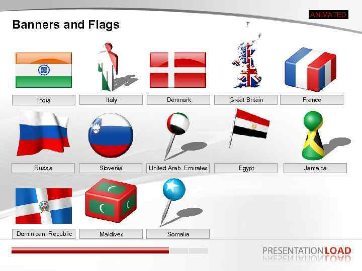 ANIMATED Banners and Flags India Italy Denmark Great Britain Russia Slovenia United Arab. Emirates