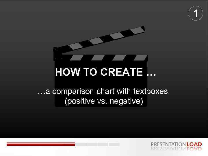 1 HOW TO CREATE … …a comparison chart with textboxes (positive vs. negative)