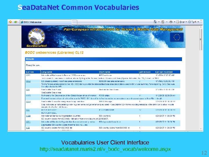 Sea. Data. Net Common Vocabularies User Client Interface http: //seadatanet. maris 2. nl/v_bodc_vocab/welcome. aspx
