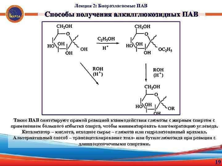 Лекция 2: Биоразлагаемые ПАВ Способы получения алкилглюкозидных ПАВ Такие ПАВ синтезируют прямой реакцией взаимодействия