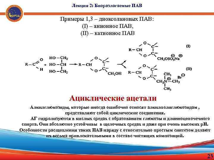 Лекция 2: Биоразлагаемые ПАВ Примеры 1, 3 – диоксолановых ПАВ: (I) – анионное ПАВ,