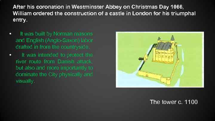 After his coronation in Westminster Abbey on Christmas Day 1066, William ordered the construction