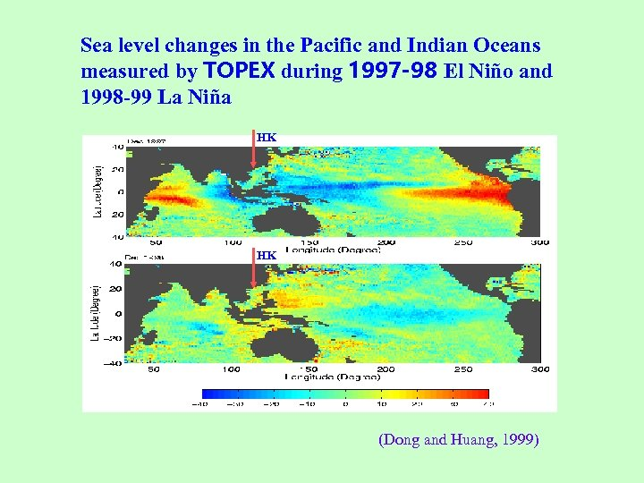 Sea level changes in the Pacific and Indian Oceans measured by TOPEX during 1997