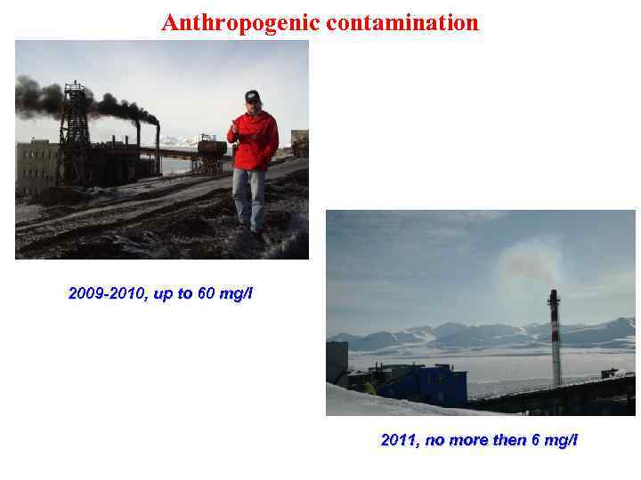 Anthropogenic contamination 2009 -2010, up to 60 mg/l 2011, no more then 6 mg/l