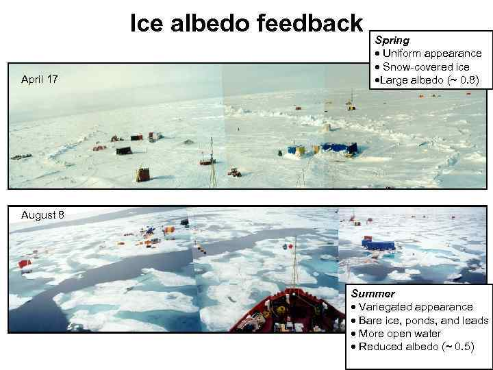Ice albedo feedback April 17 Spring · Uniform appearance · Snow-covered ice ·Large albedo