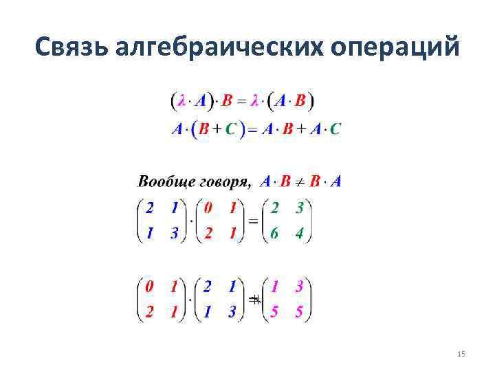 Связь алгебраических операций 15