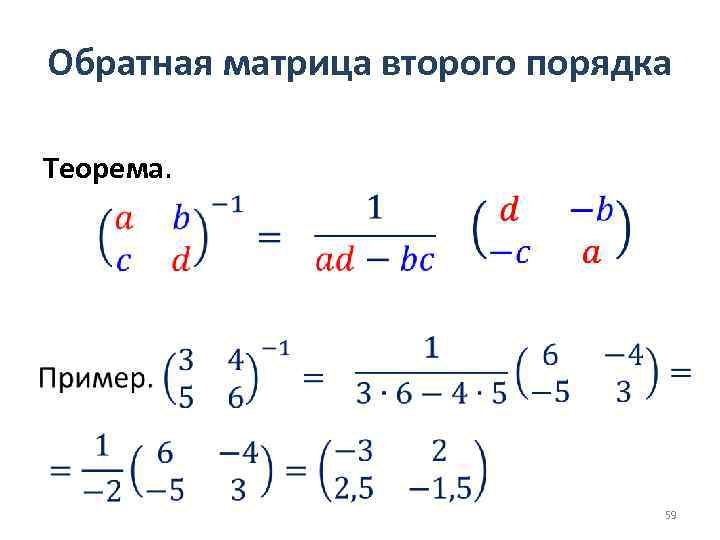 Обратная матрица второго порядка Теорема. 59