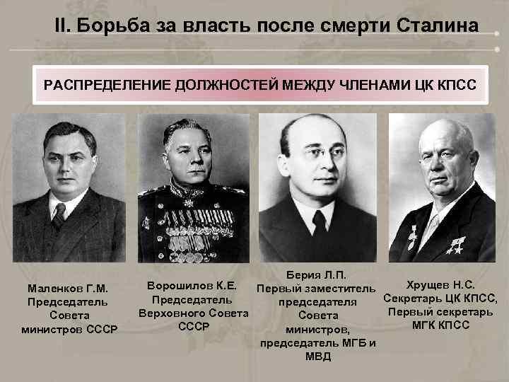 кто правил страной после смерти сталина