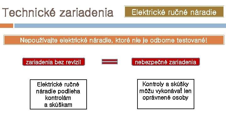 Technické zariadenia Elektrické ručné náradie Nepoužívajte elektrické náradie, ktoré nie je odborne testované! zariadenia