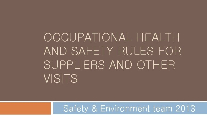 OCCUPATIONAL HEALTH AND SAFETY RULES FOR SUPPLIERS AND OTHER VISITS Safety & Environment team