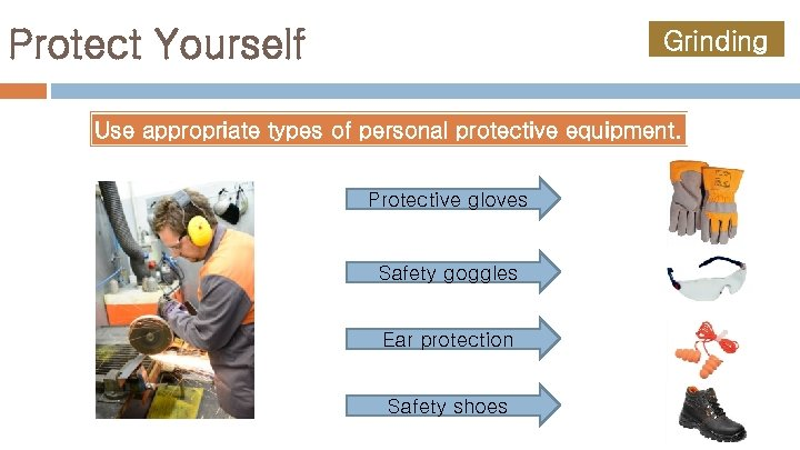 Protect Yourself Grinding Use appropriate types of personal protective equipment. Protective gloves Safety goggles