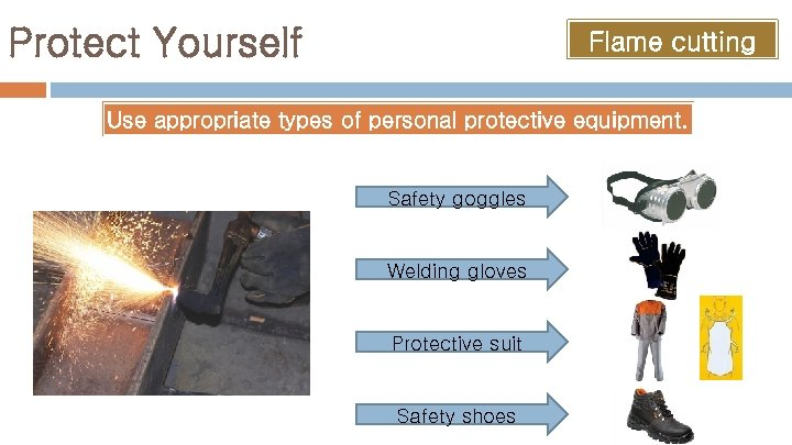 Protect Yourself Flame cutting Use appropriate types of personal protective equipment. Safety goggles Welding