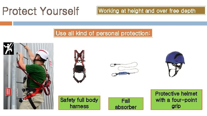 Protect Yourself Working at height and over free depth Use all kind of personal