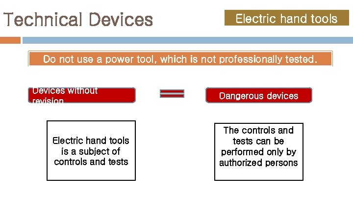 Technical Devices Electric hand tools Do not use a power tool, which is not