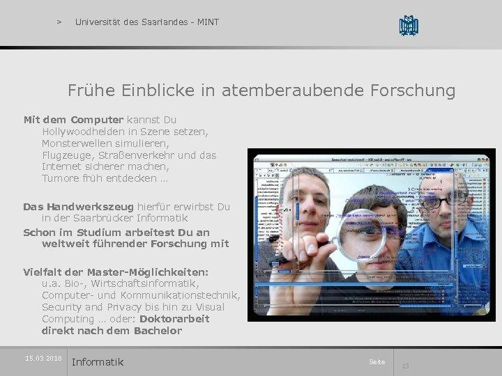 > Universität des Saarlandes - MINT Frühe Einblicke in atemberaubende Forschung Mit dem Computer