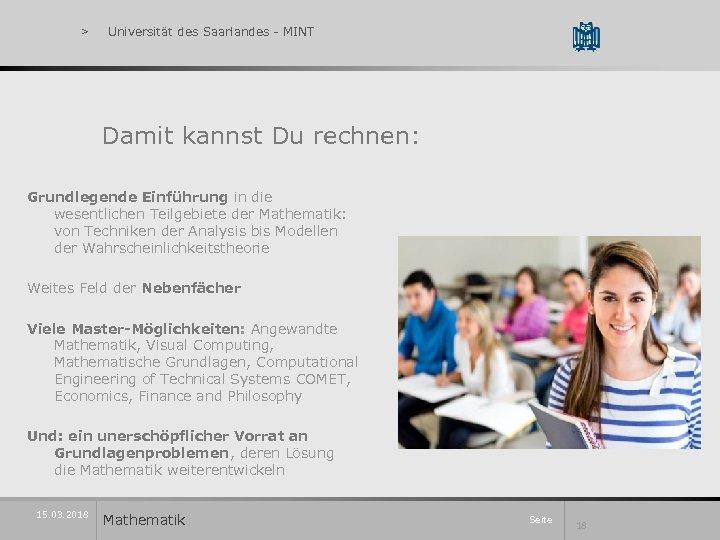 > Universität des Saarlandes - MINT Damit kannst Du rechnen: Grundlegende Einführung in die