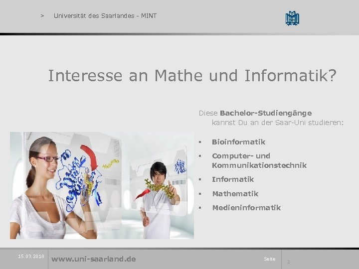 > Universität des Saarlandes - MINT Interesse an Mathe und Informatik? Diese Bachelor-Studiengänge kannst