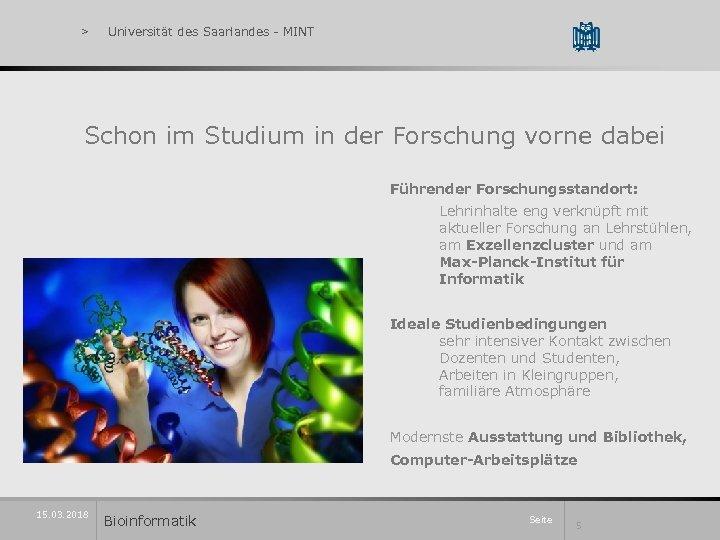 > Universität des Saarlandes - MINT Schon im Studium in der Forschung vorne dabei