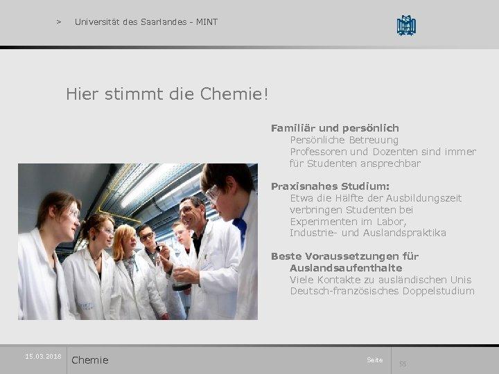 > Universität des Saarlandes - MINT Hier stimmt die Chemie! Familiär und persönlich Persönliche
