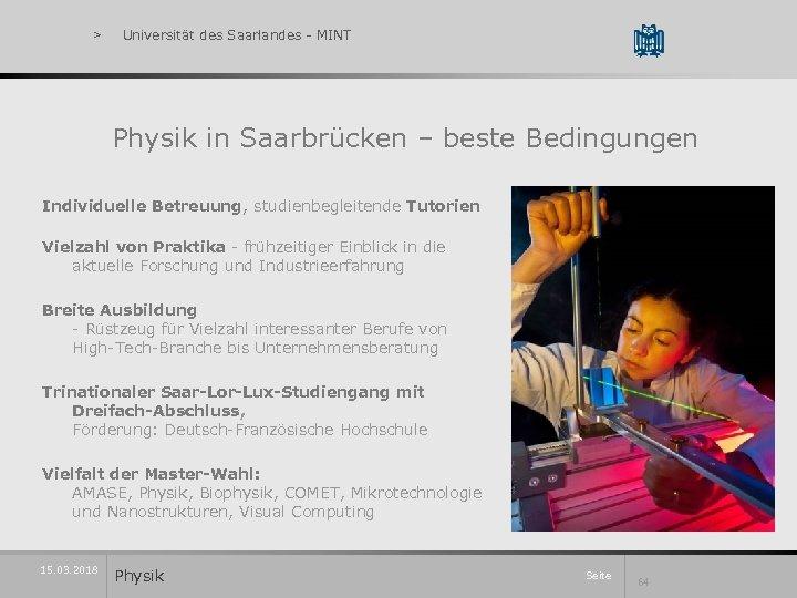 > Universität des Saarlandes - MINT Physik in Saarbrücken – beste Bedingungen Individuelle Betreuung,