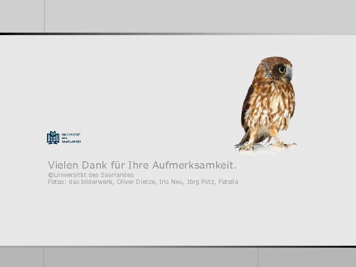 Vielen Dank für Ihre Aufmerksamkeit. ©Universität des Saarlandes Fotos: das bilderwerk, Oliver Dietze, Iris