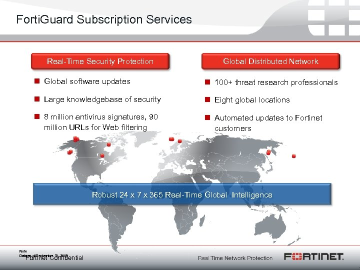 Forti. Guard Subscription Services Real-Time Security Protection Global Distributed Network n Global software updates