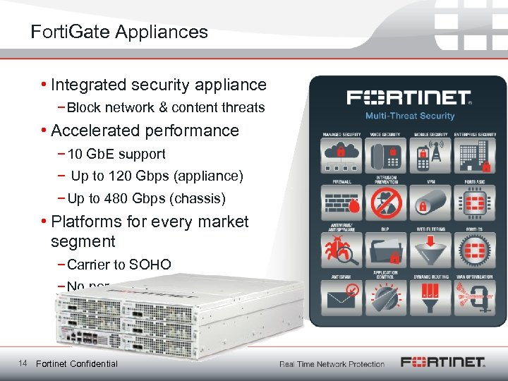 Forti. Gate Appliances • Integrated security appliance − Block network & content threats •