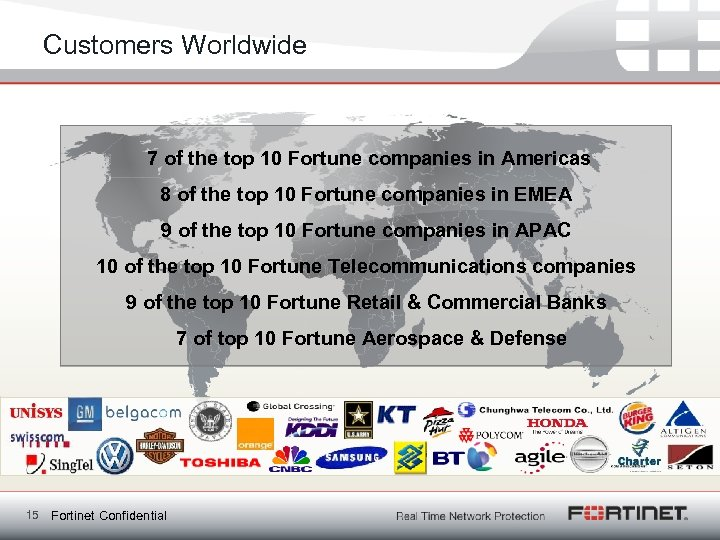 Customers Worldwide 7 of the top 10 Fortune companies in Americas 8 of the