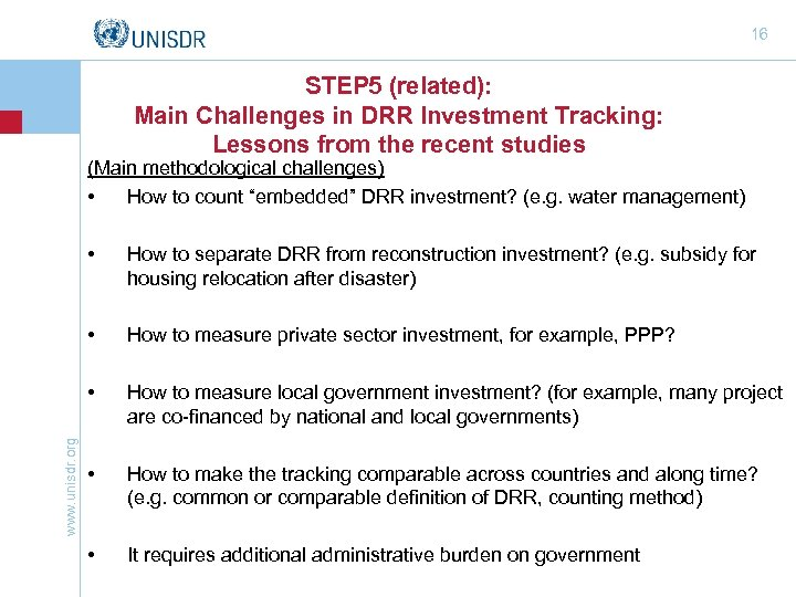 16 STEP 5 (related): Main Challenges in DRR Investment Tracking: Lessons from the recent