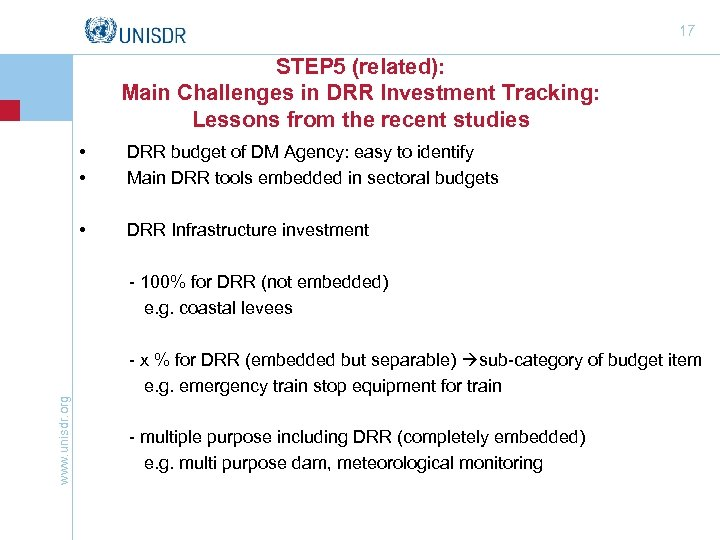 17 STEP 5 (related): Main Challenges in DRR Investment Tracking: Lessons from the recent