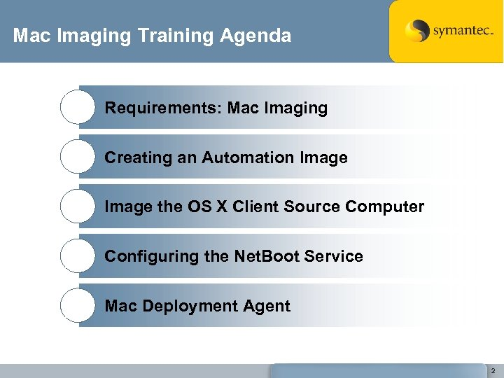 Mac Imaging Training Agenda Requirements: Mac Imaging Creating an Automation Image the OS X