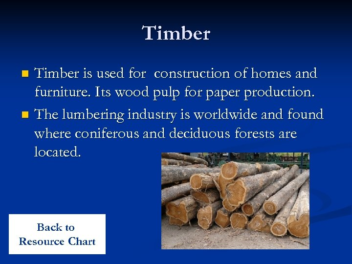 Timber is used for construction of homes and furniture. Its wood pulp for paper