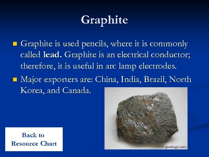 Graphite is used pencils, where it is commonly called lead. Graphite is an electrical