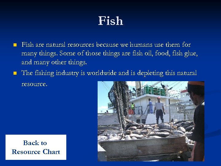 Fish n n Fish are natural resources because we humans use them for many