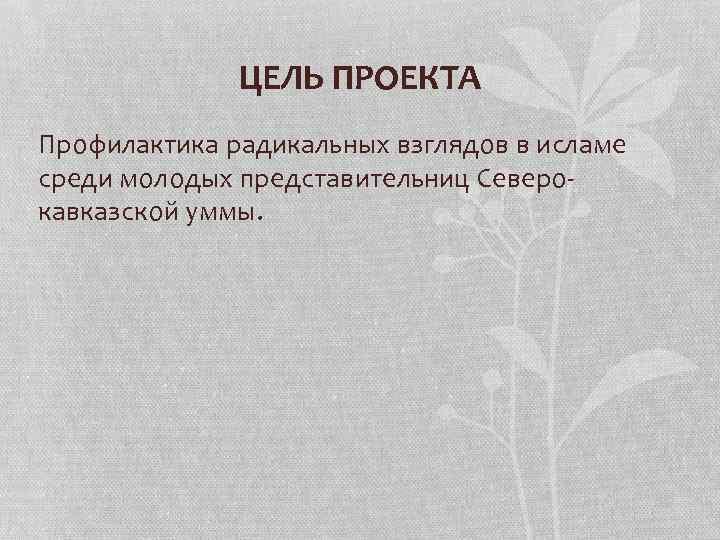ЦЕЛЬ ПРОЕКТА Профилактика радикальных взглядов в исламе среди молодых представительниц Северокавказской уммы.