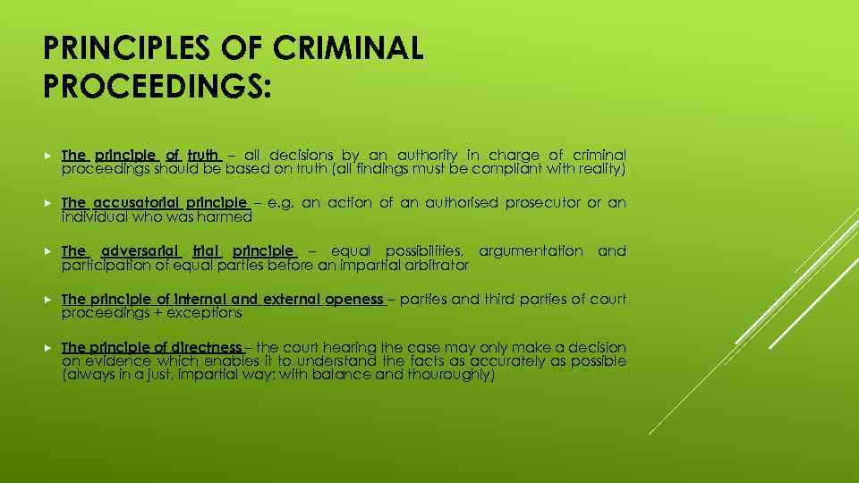 PRINCIPLES OF CRIMINAL PROCEEDINGS: The principle of truth – all decisions by an authority