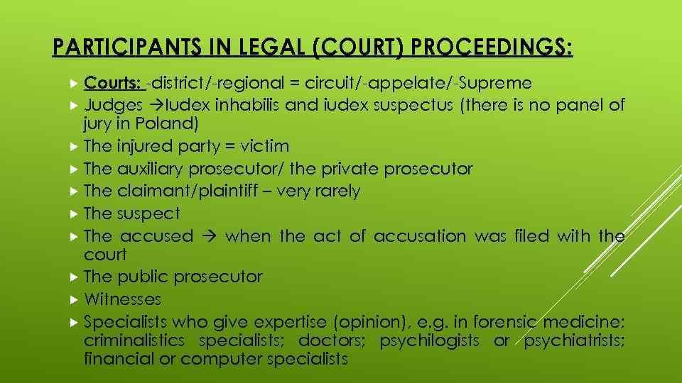 PARTICIPANTS IN LEGAL (COURT) PROCEEDINGS: Courts: -district/-regional = circuit/-appelate/-Supreme Judges Iudex inhabilis and iudex