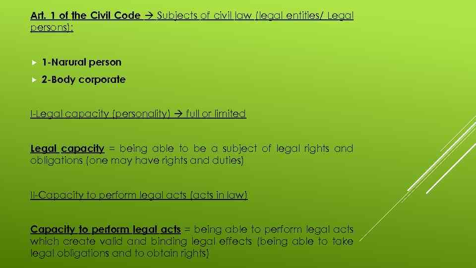 Art. 1 of the Civil Code Subjects of civil law (legal entities/ Legal persons):