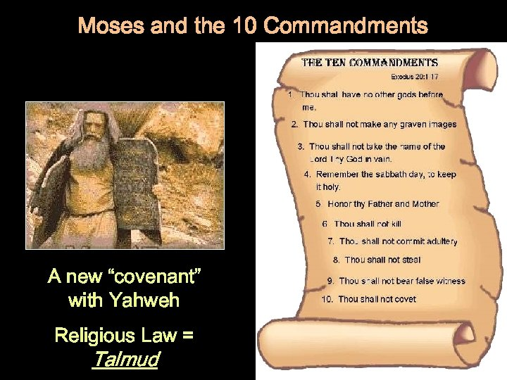 """Moses and the 10 Commandments A new """"covenant"""" with Yahweh Religious Law = Talmud"""