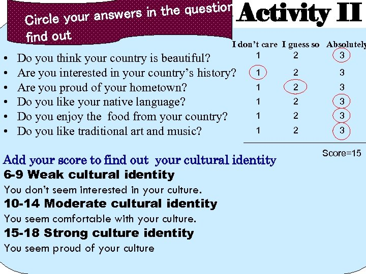 to the questionnaire in cle your answers Cir find out Activity II • •