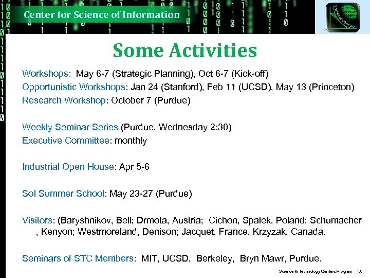Center for Science of Information Some Activities Workshops: May 6 -7 (Strategic Planning), Oct