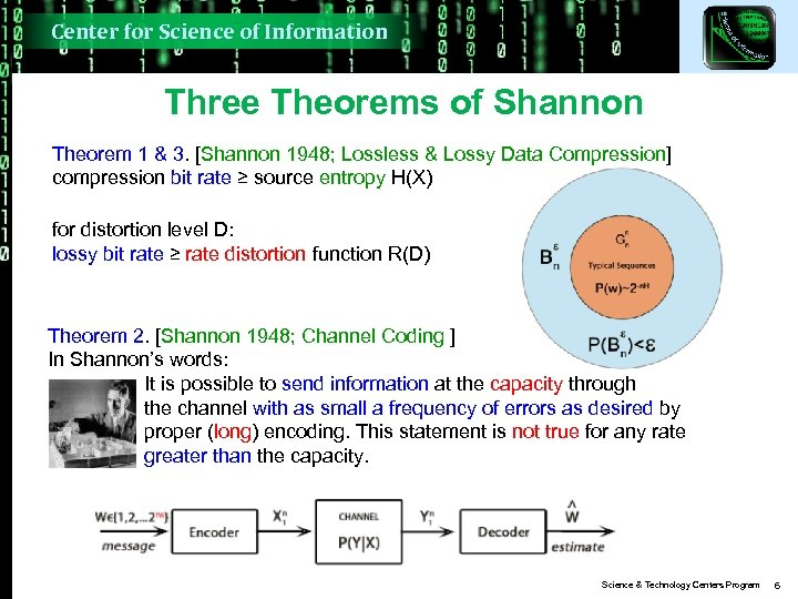 Center for Science of Information Three Theorems of Shannon Theorem 1 & 3. [Shannon
