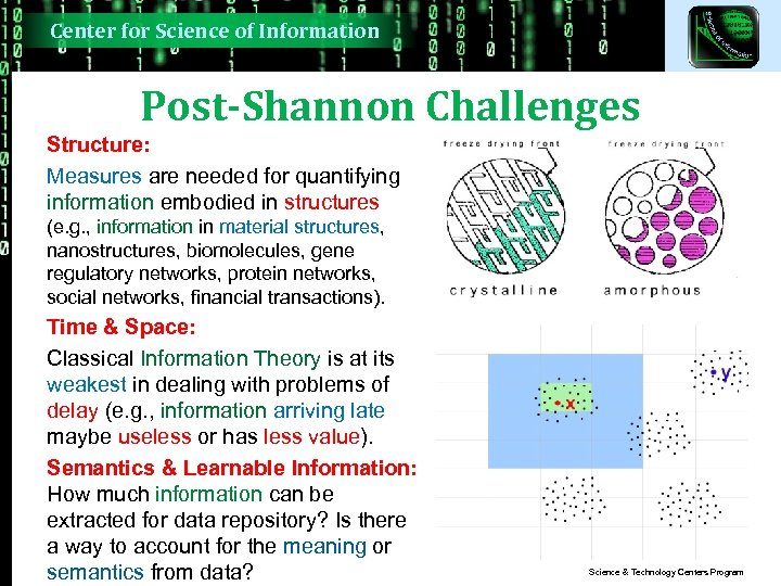 Center for Science of Information Post-Shannon Challenges Structure: Measures are needed for quantifying information