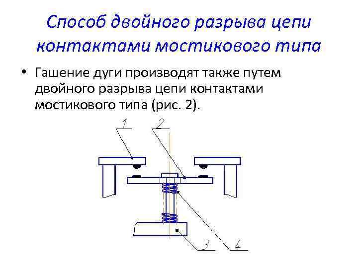 Способ двойного разрыва цепи контактами мостикового типа • Гашение дуги производят также путем двойного