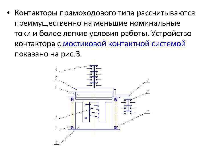 • Контакторы прямоходового типа рассчитываются преимущественно на меньшие номинальные токи и более легкие