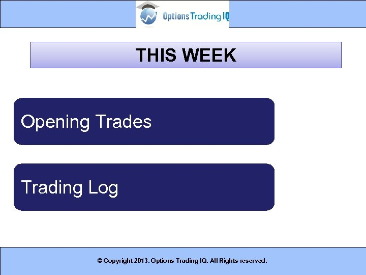 THIS WEEK Opening Trades Trading Log © Copyright 2013. Options Trading IQ. All Rights